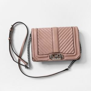 REBECCA MINKOFF Pink Quilted Leather Crossbody Bag